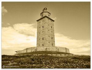 Torre de Hércules  sepia, Comprar fotografa Faros de Galicia Torre de Hércules Océano Atlántico Natureza Decoración