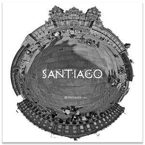 Praza  do Obradoiro Compostela 360º  b& n, Comprar fotografía de Galicia Santiago de Compostela Catedral Peregrinos Praza  do  Obradorio Camiño de Santiago Decoración fotografa 360  b& n