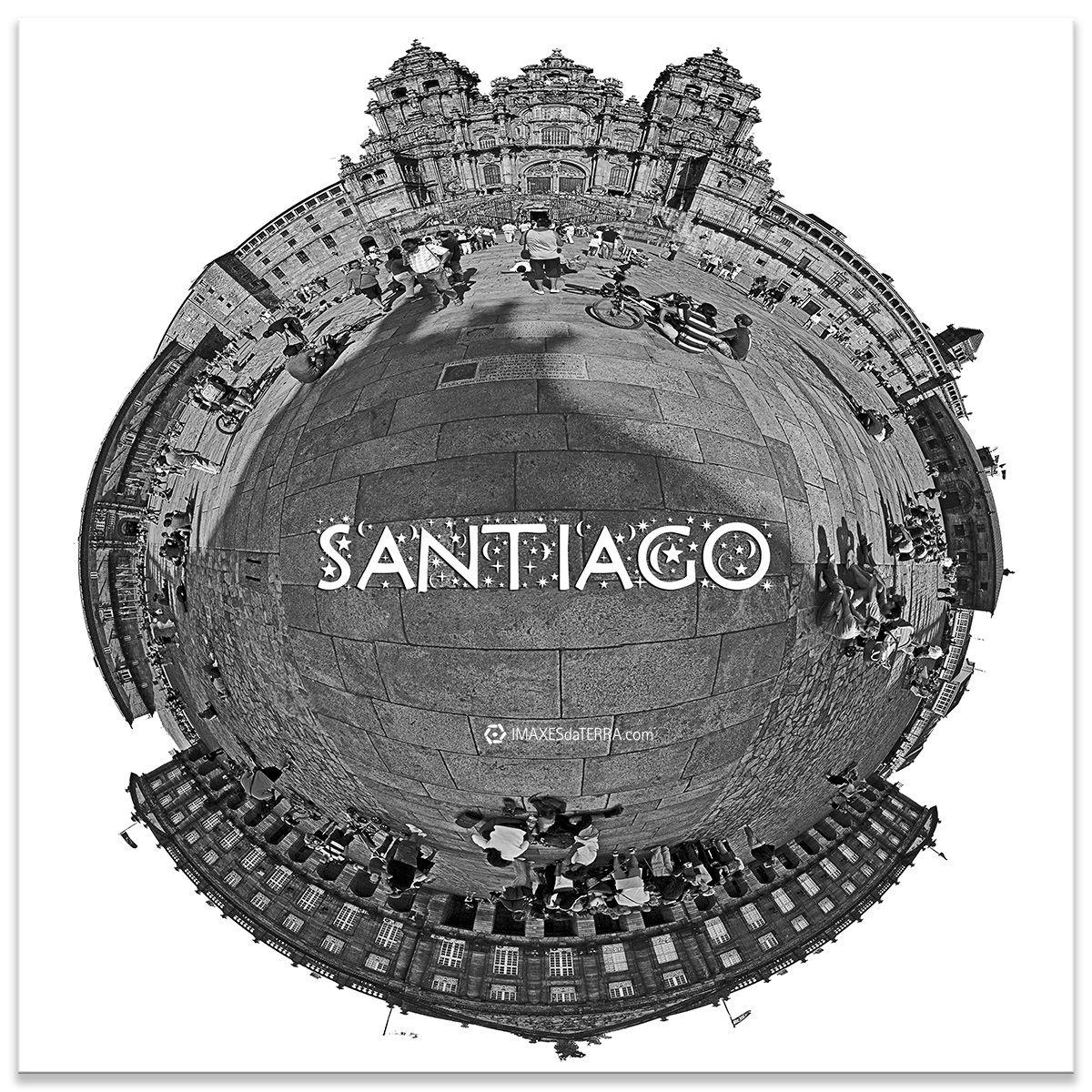 Comprar fotografía de Galicia Santiago de Compostela Catedral Peregrinos Plaza do Obradorio Camino de Santiago Decoración fotografía 360 b&n
