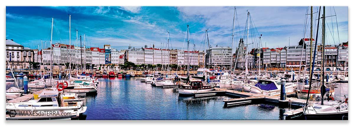 Porto Deportivo Marina A Coruña, Comprar fotografía de Galicia A Coruña A Marina Puerto deportivo Galerías Náutico Decoración Panorámica