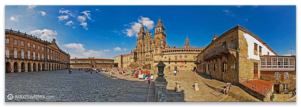 Praza do Obradoiro en Santiago de Compostela, Comprar fotografía de Galicia Santiago de Compostela Catedral Peregrinos Plaza do Obradorio Camino de Santiago Decoración